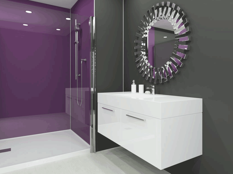 Multipanel plus purple panelled bathroom