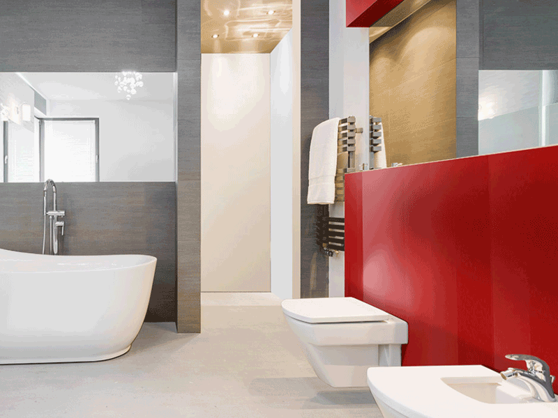 Multipanel plus rosso devil panelled bathroom wall