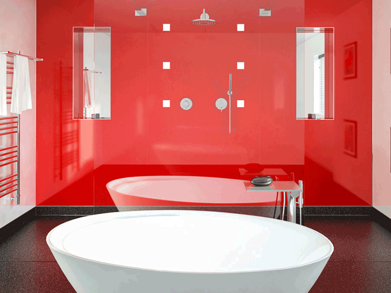Multipanel plus rosso devil panelled bathroom
