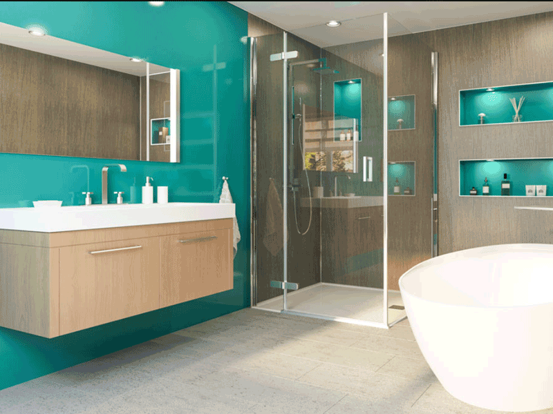 Multipanel plus verde mare panelled bathroom