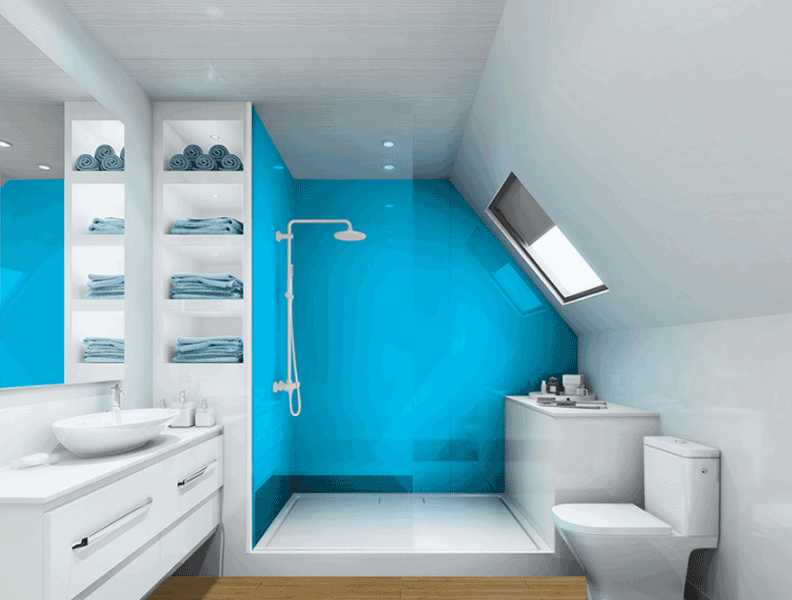Multipanel reflect blue panelled bathroom