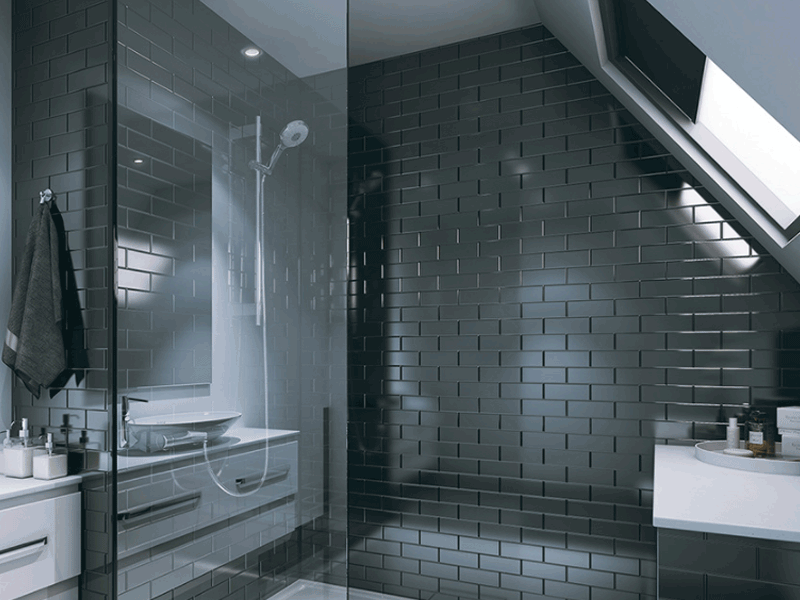 Multipanel tile range black brick panelled bathroom