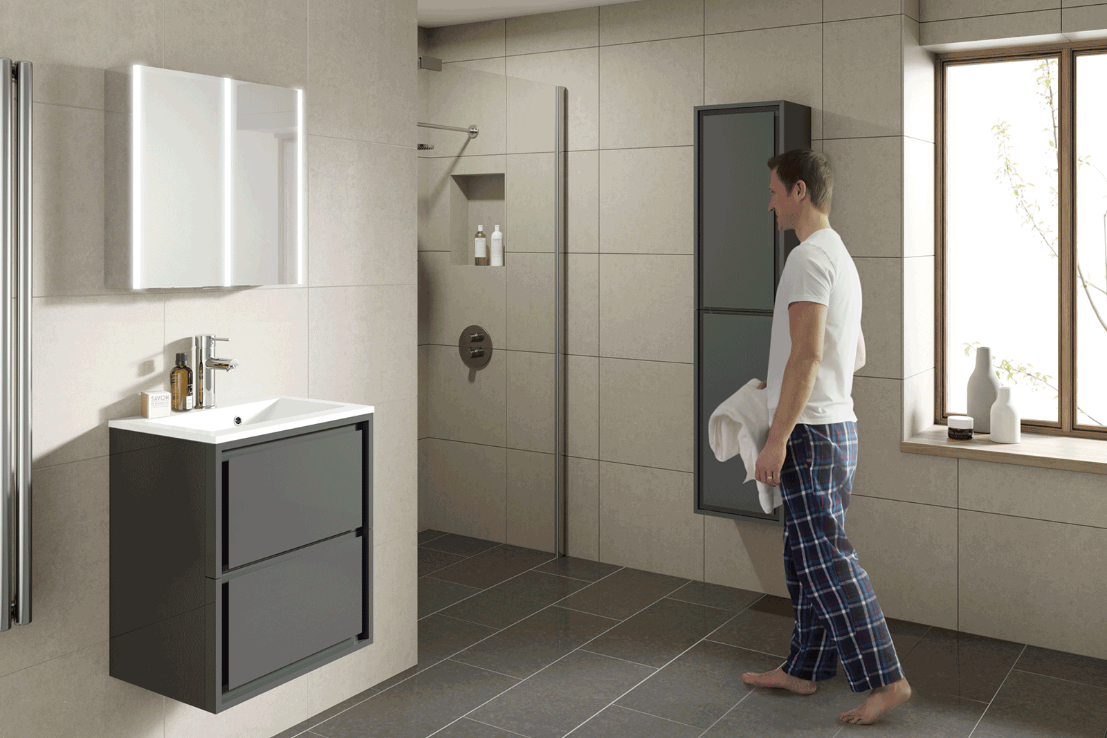 HIB duet anth wetroom roomset