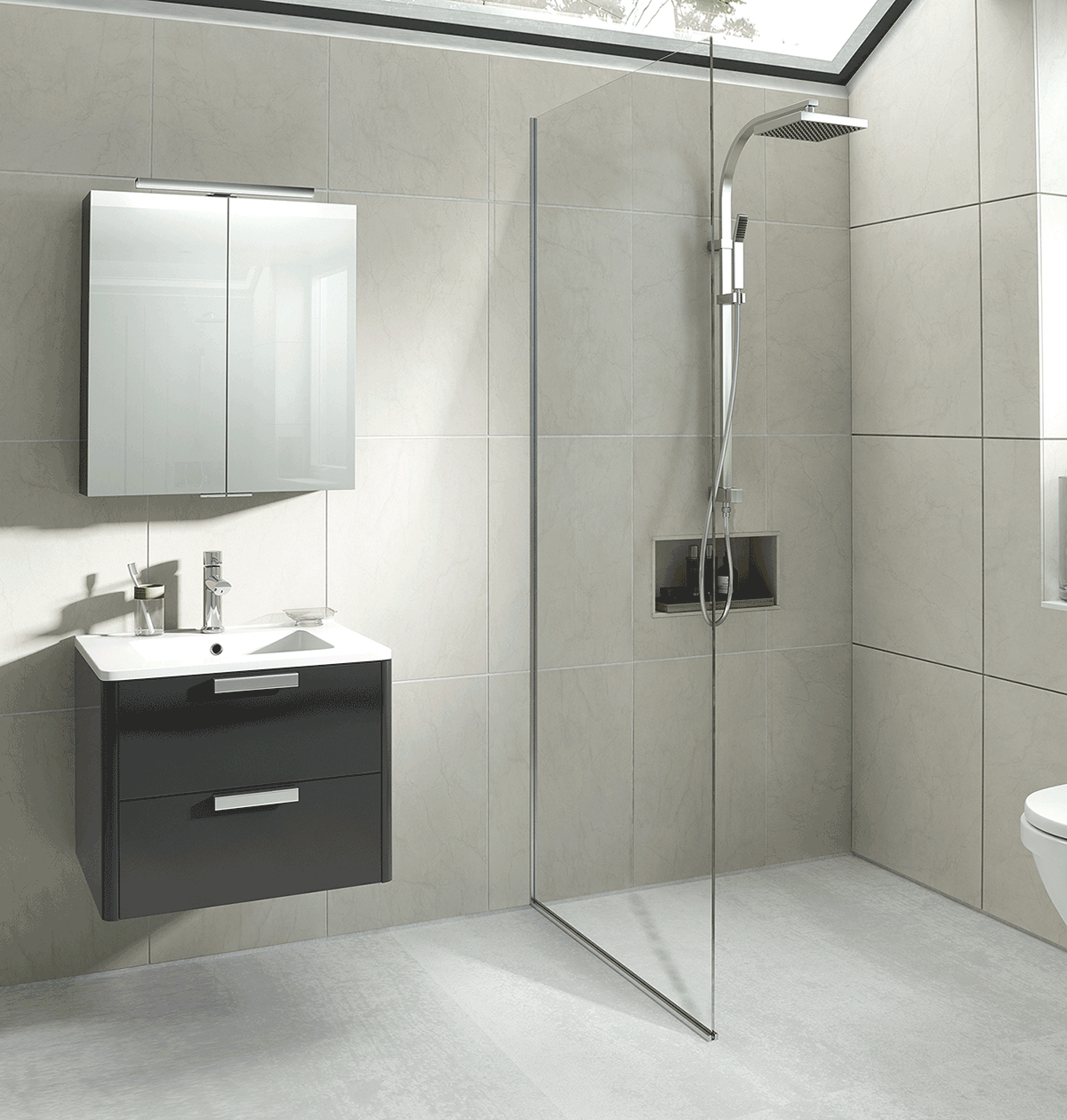 Hib kurve anthracite wetroom roomset