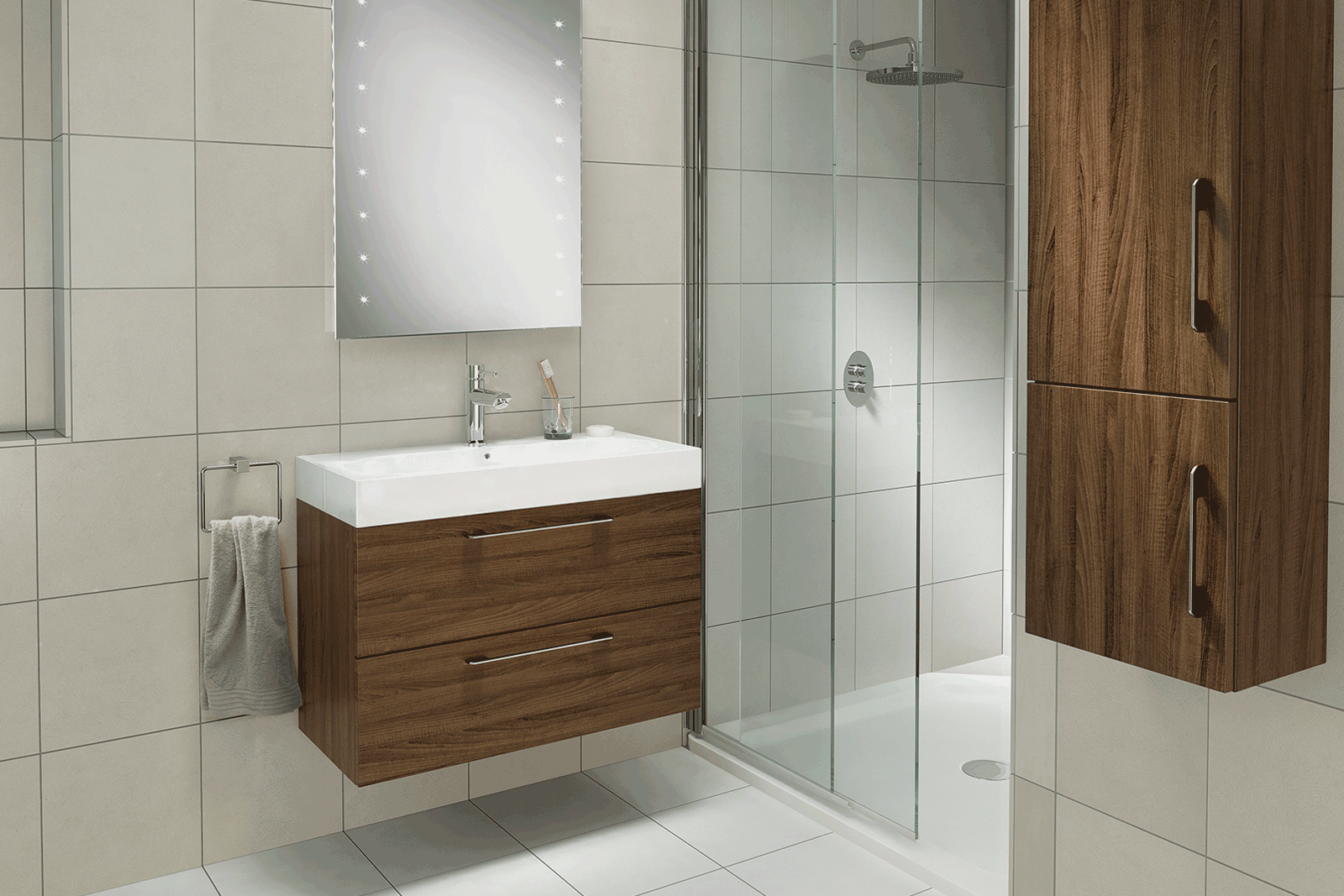 Hib tranquil walnut wetroom roomset