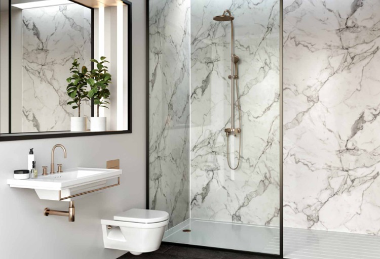 Multipanel Linda Barker Range Calacatta Marble panelled bathroom available from BATHLINE.