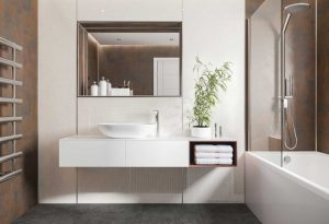 Multipanel Linda Barker Range Corten Elements panelled bathroom available from BATHLINE.