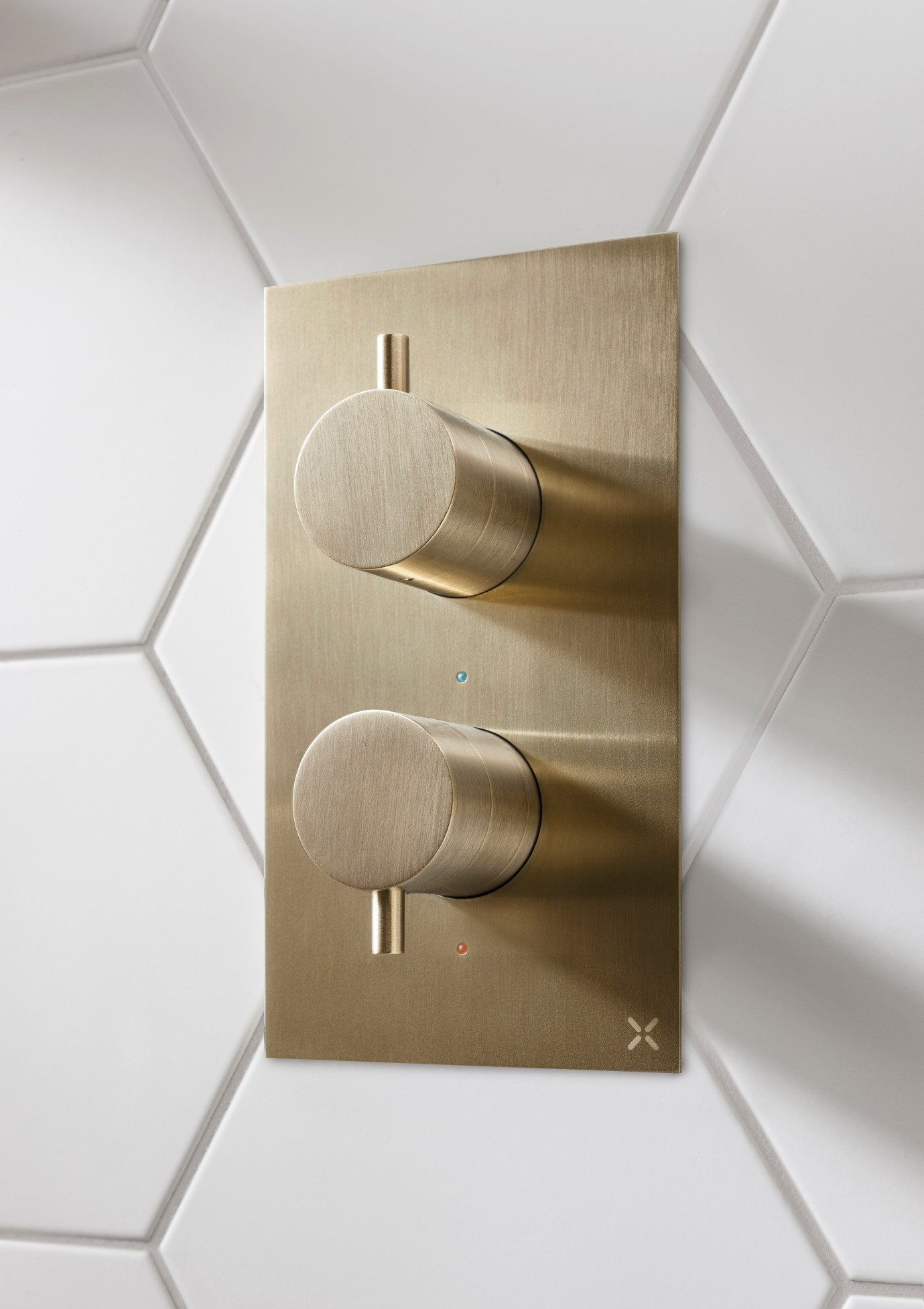Crosswater MPRO brushed gold shower valve available from BATHLINE Bathrooms.