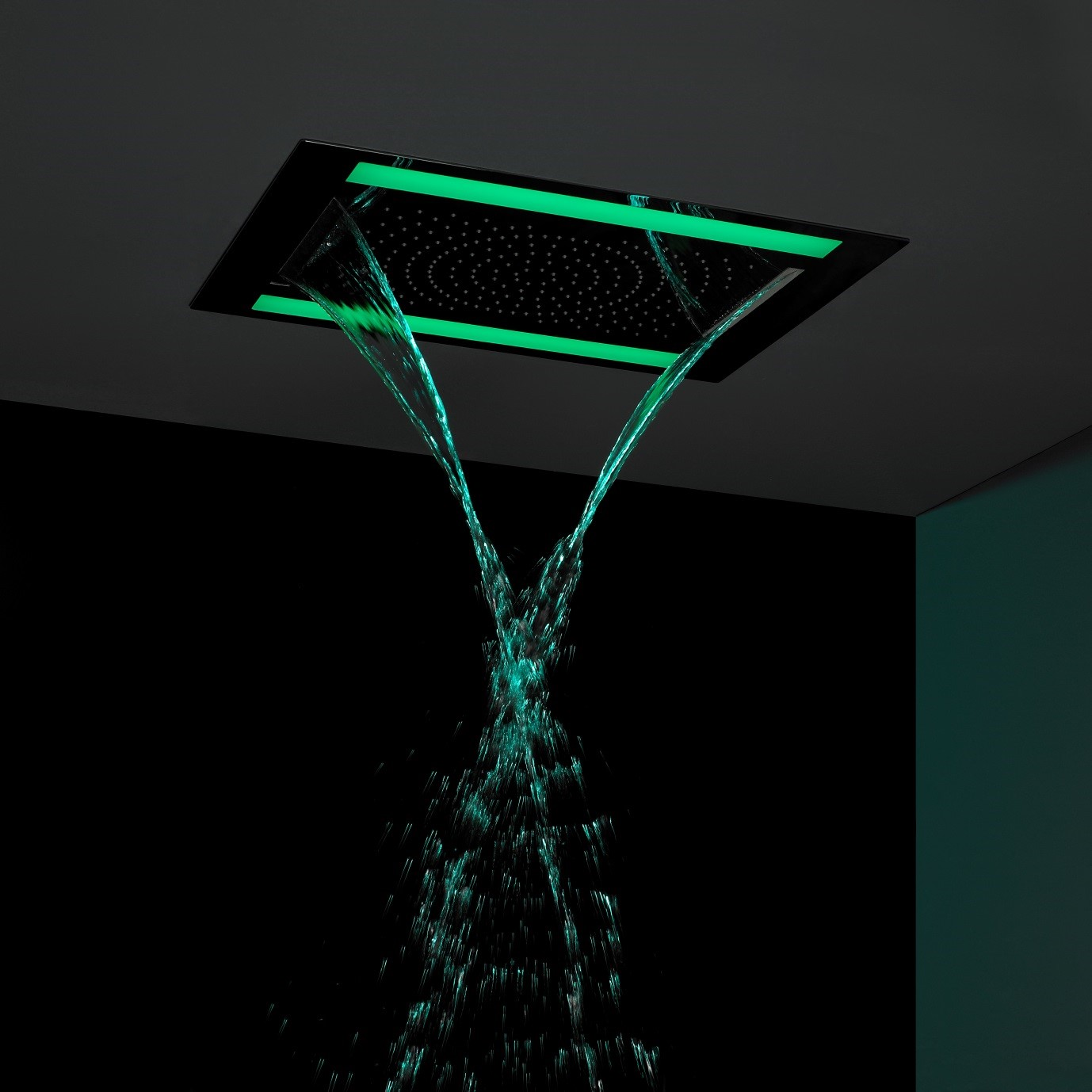 Crosswater recessed LED showerhead available from BATHLINE.