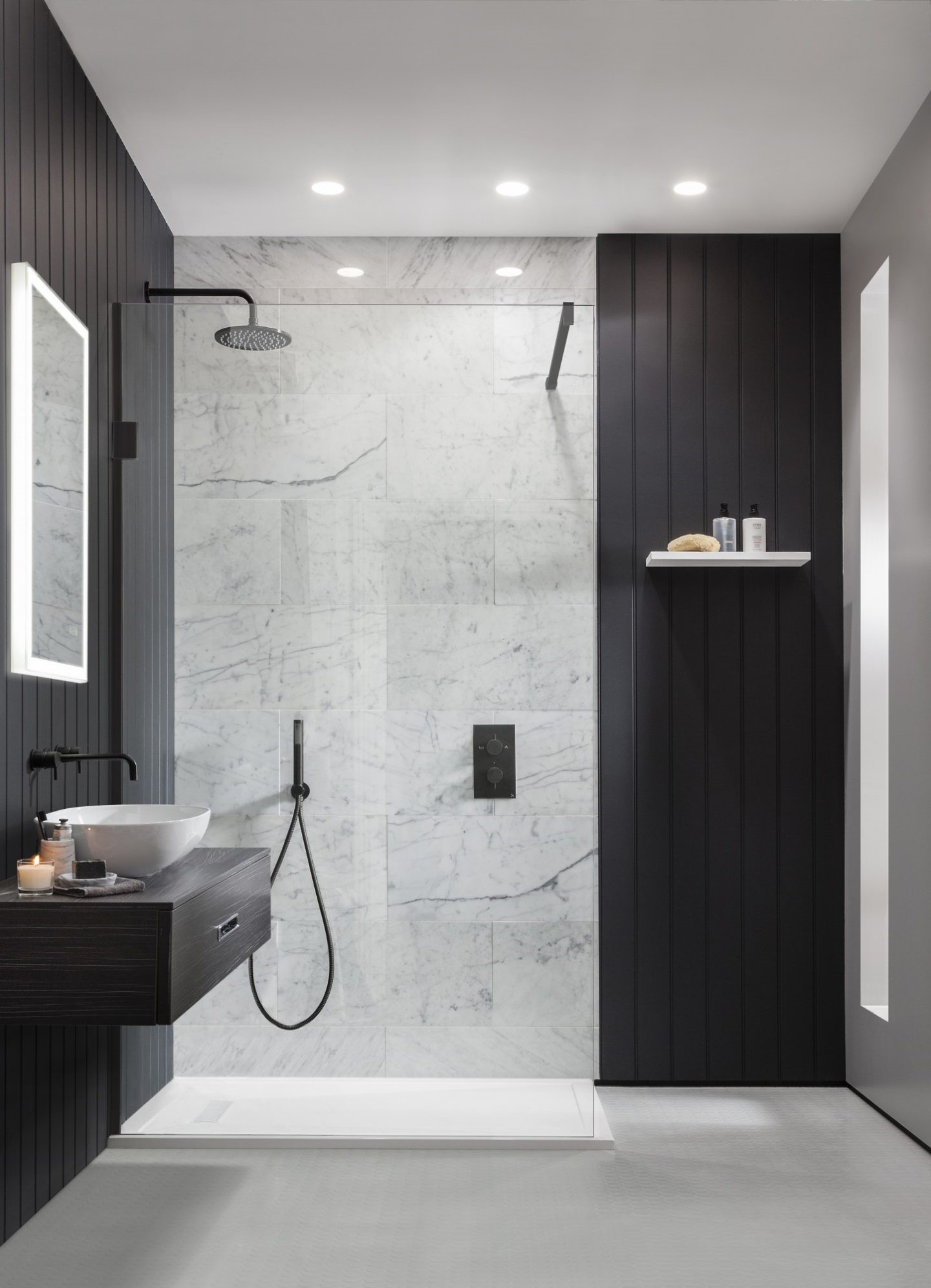 MPRO Matt Black Shower fixed head available from BATHLINE bathrooms.