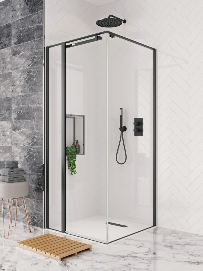 Crosswater's Design+ Pivot Door with Hush Technology available from BATHLINE Bathrooms