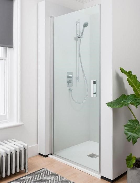 Crosswater hinged shower door enclosure available from BATHLINE.
