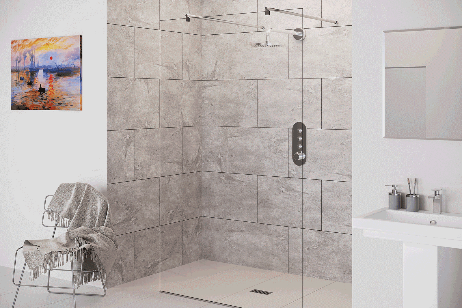 Flair Showers Chianti wetroom shower panel available from BATHLINE Bathrooms.