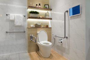 Bathroom with Grab Rails available from BATHLINE Bathrooms.